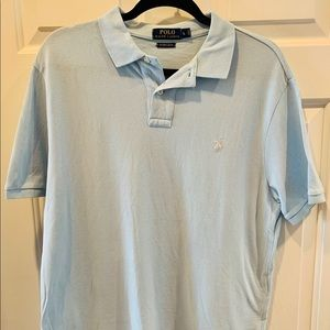 Ralph Lerann custom slim fit light blue men's polo